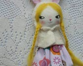 "wee little wonder dolly - 5""ish handmade cloth doll bunny girl"