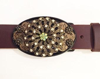 Fabulous Flower Brooch Buckle and Belt Strap