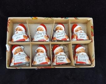 Set 8 Vintage Porcelain Santa Bell Ornaments Ardalt Japan