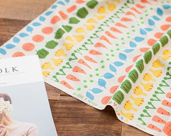 Vegetable Lines Cotton Fabric by Yard
