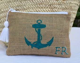 Anchor jute pouch, customized cosmetic bag, anchor burlap clutch, personalized gift, beach-chic jute bag, boho-beach inspired makeup bag