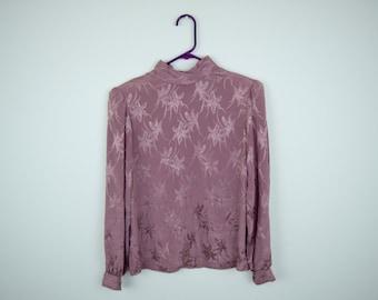 Vintage Mauve Flower Print Long Sleeve Blouse by Jonathan Martin Size 7/8