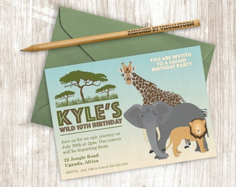 Safari Birthday Invitation Printable Animal Invitation African Zoo Animal Party Invitation Lion Giraffe Elephant Jungle Animal Party Invite