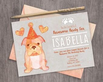 Bulldog Puppy Birthday Invitation Printable Watercolor Pet Party Invite Cute Puppy Dog Invitation Bulldog With Hat and Hearts Birthday Pawty