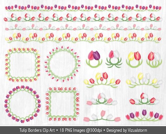Tulip Floral Border Clipart Flower Wreath Clipart Floral Tulips Border Clipart