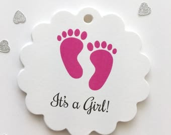 Baby Shower Tags, Gender Reveal Shower Favor Tags, Footprint Baby Shower Hang Tags (SC-207)