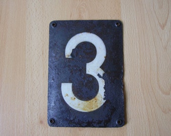 Vintage French House Number 3 Enamel Sign Plaque