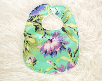 Personalized Baby Bib - Purple Love Bliss Baby Bib - Bliss Bouquet Baby Bib - Purple Floral Baby Bib - White Minky Fabric - Handmade Bib