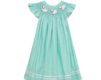 Mint Lamb Smocked Bishop Dress