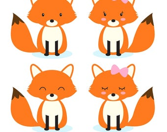 Fox clip art, woodland animals clipart, forest animals clip art, Commercial Use Clip Art, 4 PNG Images, Instant Download