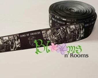 Grosgrain ribbon Sons of Anarchy.  7/8 inch ribbon.  Hair bows, crafts, cut by the yard. SOA