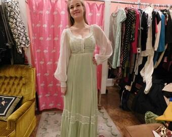 1970's Maxi dress  light green & white prairie  dress