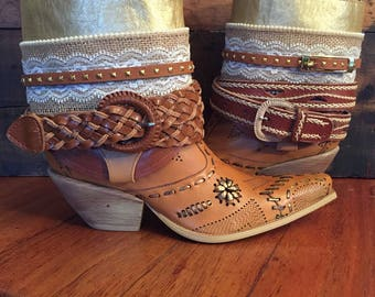 Upcycled Western cowboy boots women's size 8