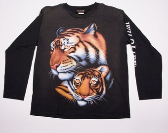 Vintage Long Sleeved Tiger 90s Print Tshirt