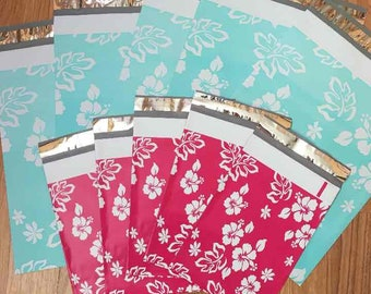 200 Mixed Size Hawaiian Flower Poly Mailers