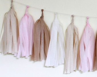 Tissue Paper Tassel Garland- Blushing