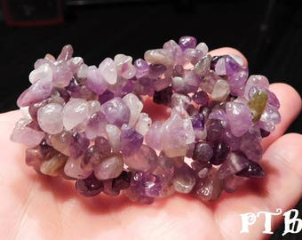 "Psychic Meditation Bracelet ~ Authentic Natural Amethyst Gemstone Chip stretch Bracelet 7 1/2"" stretch"