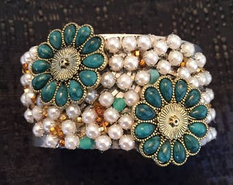 Pearls, beads. Beautiful One of a Kind Cuff Bracelet