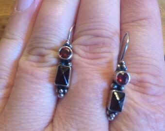 BoHo Garnett sterling silver earrings
