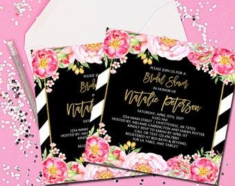 Bridal Shower Invitation, Shower Invitation, Invitation, Bridal Shower, Black and Gold, Pink and Gold, Floral, Wedding Shower, Printable 5x5