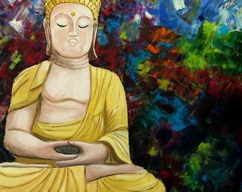 Little Buddha - oil paint on canvas/stretcher - 70 x 70 cm-