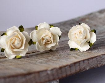 Ivory Hair Pins, Ivory Rose Wedding Hair Pins, Bridal Hair Accessories, Bridesmaid Hair Pins, Boho Wedding, Rustic bride, Beach wedding