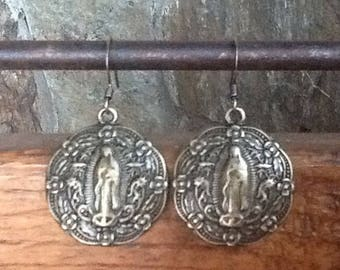 Our Lady of Guadalupe Earrings Guadalupe medal women's earrings Catholic gift