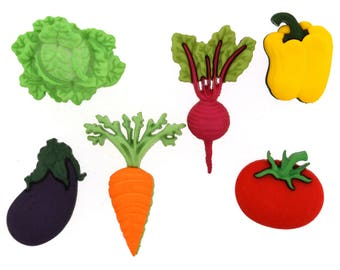 Vegetable Button Collection Jesse James Buttons Fresh Produce Dress It Up Lettuce Carrot Beet Tomato Pepper Eggplant Set of 6 Shank Back-202