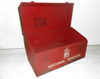 "Vintage Rusty Red Metal Toolbox ""National Sander"" from 1960s - 13"" x 6"" x 6.5"" - Display Box for Man Cave Items"