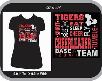 Cheerleader Subway Art Glitter T-Shirt, Cheer Shirt, Cheer Spiritwear, Cheer Camp Shirt, Cheerleader Gift