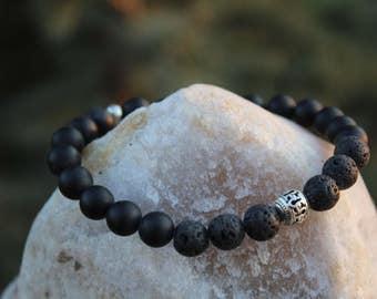 Reiki Infused Lava Stretch Bracelet