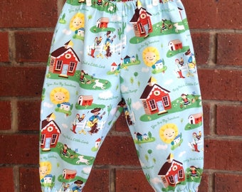 Designer cotton baby pants with nursery rhyme design // pants for babies and toddlers // sizes up to 24 months // shower gift