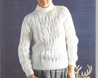 Very nice Aran jumper knitting pattern for ladies - size 28 - 40 ins by Hayfield