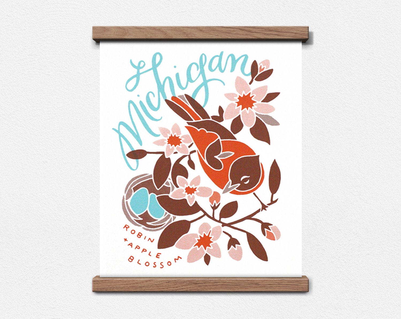 Michigan State Bird and Flower 8 x 10 Screen Print