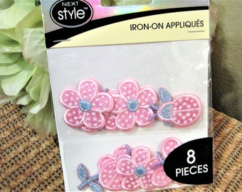 Appliques Pink Iron on Next Style 8 pieces Craft Supplies blm