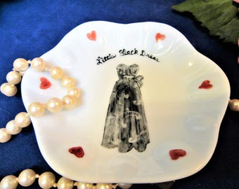 Sale Ring Dish Jewelry Trinkets Little Black Dress Hand Painted Porcelain Ceramic Kiln Fired blm