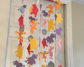 Winnie the Pooh and friends inspired mobile you can CHOOSE YOUR COLORS! nursery mobile, paper mobile baby mobile