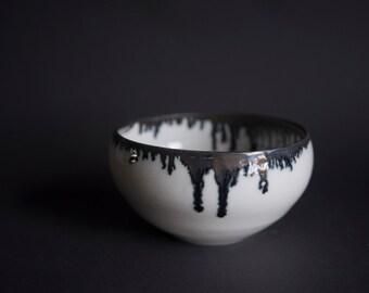 Handmade wheel thrown porcelain bowl white gloss with dark gold edge fractals, minimal