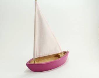 Wooden toy boat - Wooden toys- Sailboat - Boat Toy - Bath toy - Pink sailboat- Natural Toy- Bath time toy