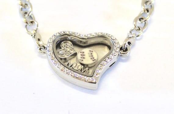 Baseball Mom Floating Charm Bracelet, Gift for Mom, Gift For Her, Baseball Player Mom, Proud Mom Jewelry, Heart Floating Charm Locket