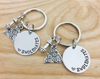 Swolemates keychain, Weight lifting keychain, Exercise keychain, Fitiness keychain, Gym buddies, Hand stamped Keychain, gift for friends
