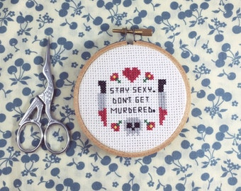 "My Favorite Murder ""Stay Sexy Don't Get Murdered"" Completed Cross Stitch in Hoop"