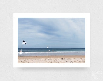 ocean beach photograph - coastal surf decor - beach - boat - sailing - wall art - landscape - square prints | LARGE FORMAT PRINT