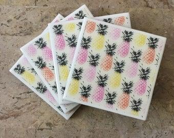Ceramic Coasters, Set of 4, Pineapples