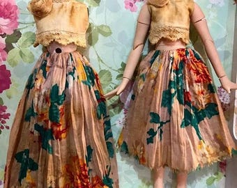 Vintage style Blouse and Long skirt for Blythe