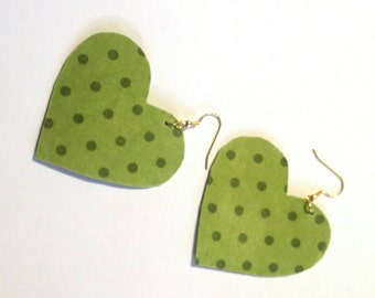 N. Green Dotted Hearts