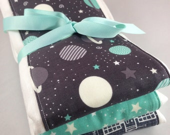 Burp cloths, space, planets, astronauts, shuttle, satellite, stars, baby, nasa, mint and grey