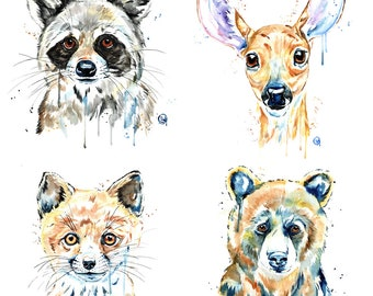 PEEKABOO WOODLAND ANIMALS, Woodland nursery, watercolor woodland art, fox watercolor, deer print, woodland prints, woodland art, nursery art