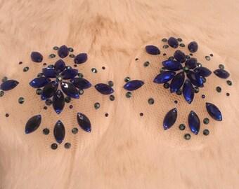 Blue rhinestone naked pasties