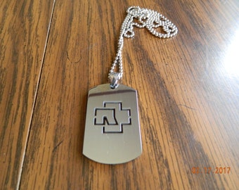 MIP- Rammstein 100% stainless steel Dog Tag Necklace with 30 inch ball chain
